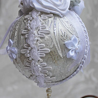 White and Silver Brocade Christmas Ornament White Brocade Holiday Bulb
