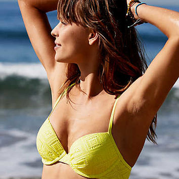 Aerie Lightly Lined Bikini Top , Lemon Lime Infusion