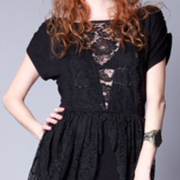 Lip Service Widow 80's Black Lace Peplum Dress
