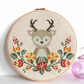 Deer cross stitch pattern modern cross stitch pattern Baby cross stitch Funny embroidery Deer embroidery pattern Deer