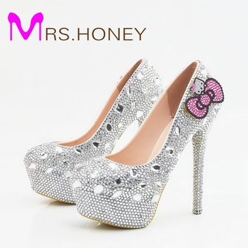 Hello Kitty Silver Rhinestone Bridal Wedding Shoes Graudation Party Prom High Heel Shoes Formal Dress Pumps Plus Size