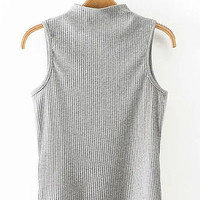 Light Gray High Neck Knit Vest
