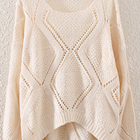 Beige Cut-Out Dipped Hem Sweater