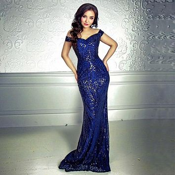 d0c86863b6f Elegant Blue Gold Sequined Retro Evening Gown Dress Hollow Out O