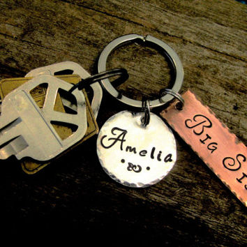 BIG SIS Key Chain Set With Custom Hand Stamped Name Medallian Great Gift Idea for New or Old Big Sister