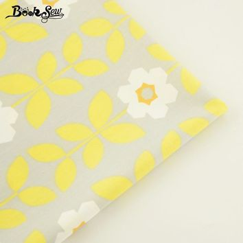 Booksew Home Textile For DIY Patchwork Bedding Cloth Baby Quilting Tela Tecido Yellow Flower Design 100% Cotton Twill Fabric