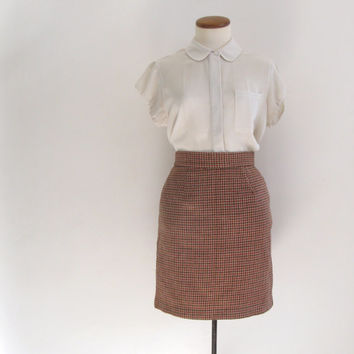 90s brown plaid houndstooth skirt - vintage united colors of benetton high waisted wool pencil mini skirt - small medium