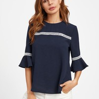 Crochet Detail Fluted Sleeve Blouse NAVY
