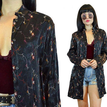 vintage 90s black satin duster jacket floral embroidered oversized blouse top shirt soft grunge gothic 1990s small