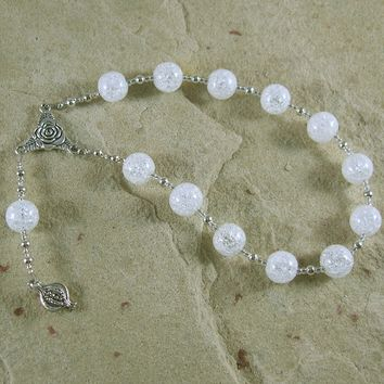 Persephone Pocket Prayer Beads in Cracked Quartz Crystal: Greek Goddess of Spring, Death