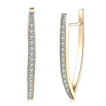 Anni Coco Hoop Earrings 18K Double Color Gold Plated Clear Cubic Zirconia Triangle Earrings For Women