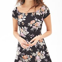 FOREVER 21 Clustered Rose Skater Dress Black/Multi