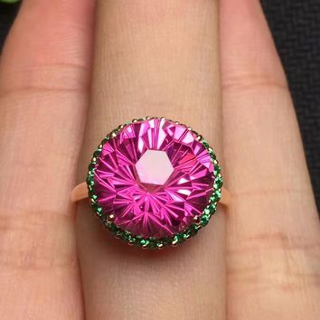 Fine Jewelry Customized Size Real 18K Rose Gold AU750 100% Natural Round Pink Topaz Gemstone Female Rings for Women Fine Ring