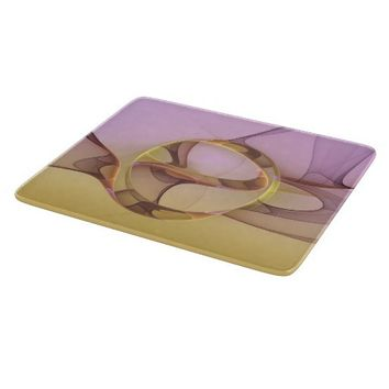 Abstract Motions, Modern Light Pink Yellow Fractal Cutting Board