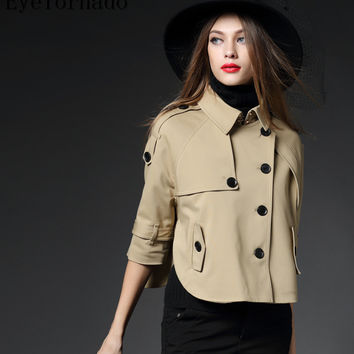 British style Designer 2017 women spring autumn brand cloak type single breasted short casual work trench windbreaker 8668
