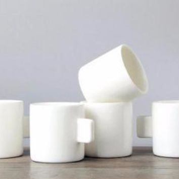 White Espresso Coffee Cups, Set of 10