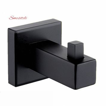 Smesiteli Matte Black 1pcs Wall Mount Square Towel Robe Coat Hook Hat Door Hanger