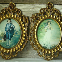 Vintage Pinkie and Blue Boy in Oval Frames by ohmermaidme on Etsy