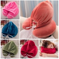 2018 New Arrival Travel Pillow Multi-functional Hoodie U-shaped Pillow Neck Pillow Nostalgic Lazy Pillow For Airplane For Travel