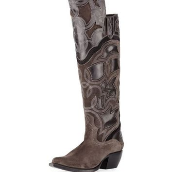 Frye Shane Embroidered Western Over-the-Knee Boot, Charcoal