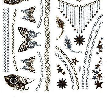 """Metallic Gold and Silver Temporary Tattoo Jewelry Beautiful Bling, 4 sheets (each 4"""" by 8""""), necklace, bracelets, butterflies, feathers, stars, flowers and more"""