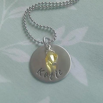 Small Personalized Necklace with Birthday Charm