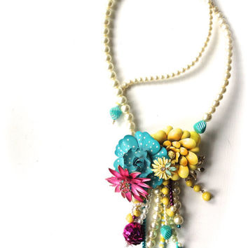 SPRING Flower Brooch Pearl Rhinestone Wedding Statement Necklace in Turquoise, Magenta, Yellow, Lime, Cream Jewelry by ZILLAS QUEEN