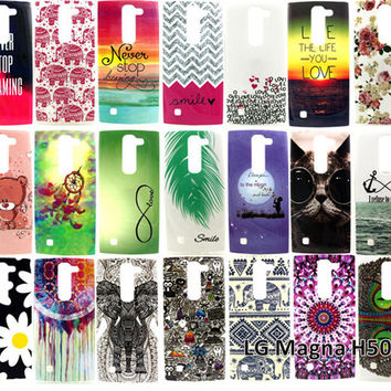 Case For LG Magna H502 Covers Hot Selling Cartoon Animal Graffiti Owl Elephant Flowers Feathers Soft TPU Back Covers Phone Case