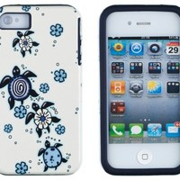 DandyCase 2in1 Hybrid High Impact Hard Turtles Pattern + Blue Silicone Case Cover For Apple iPhone 4S & iPhone 4 + DandyCase Screen Cleaner