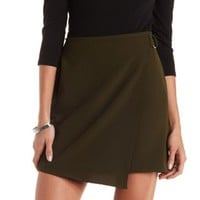 Olive Belted Asymmetrical Wrap Mini Skirt by Charlotte Russe