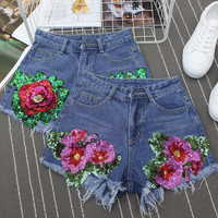High Waist Summer Teenager Girls Women Sequined Floral Embroidery Tassel Jeans Denim Hot Shorts Femme donne pantaloncini di je