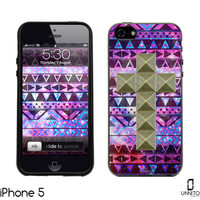 iPhone 5 Case Black Aztec Purple Pyramid Studs Crusader Series iPhone 4, Galaxy S3, S4 Case by Unnito Unbreakable Protection