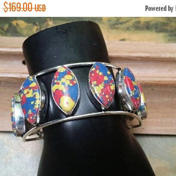 80%OFF SUMMER SALE Mosaic Jasper  Bangle Cuff Bracelet .925 Sterling  Silver