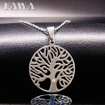 Tree of Life Pendants Stainless Steel Necklaces Men women accessories Silver chocker necklace Jewelry colgantes mujer moda N6813
