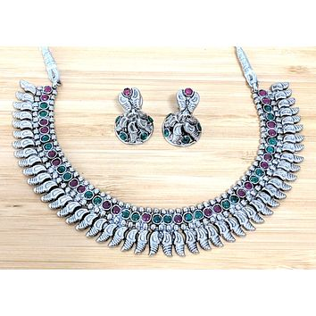 Oxidized simple polki stone embedded choker Necklace and small jhumka Earring set - curvy spike design