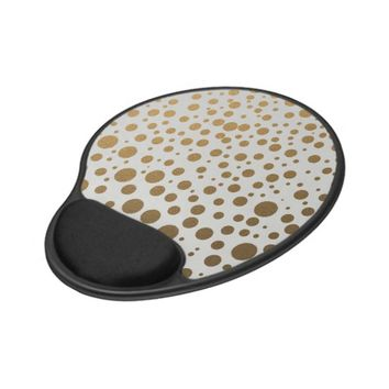 Stylish Gold Foil Confetti Dots Gel Mouse Pad