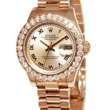 Rolex Datejust 18k Pink Rose Gold Diamond Automatic Ladies Watch w/Box 179175