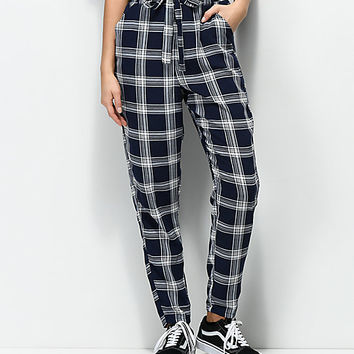 Love, Fire Shay Navy & White Checker Paper Bag Pants | Zumiez
