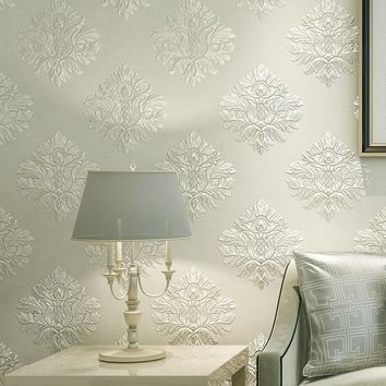 European Style 3D Embossed Floral Damask Wallpaper Non-woven Fabric Thickened Wall Paper For Living Room Bedroom TV Background