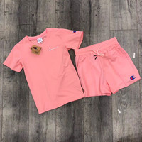 champion Short sleeved female casual shorts sports suit