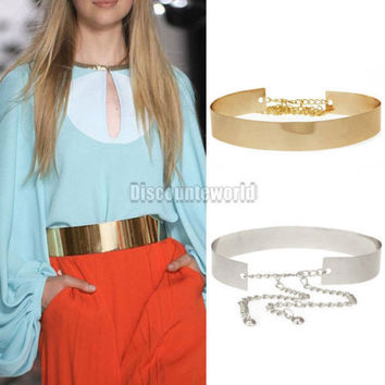 Hot Fashion New Women Lady Mirror Metal Waist Belt Gold Plate Bling Metallic Wide belt Waistband Gold Silver ceinture femme Y1