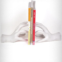 Sculptural White Hands Bookends | PLASTICLAND