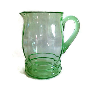 Vintage Macbeth-Evans Pitcher, Optic Green, Panels, Applied Handle, 80 Ounce, 1930's, Ribbed, Depression Glass