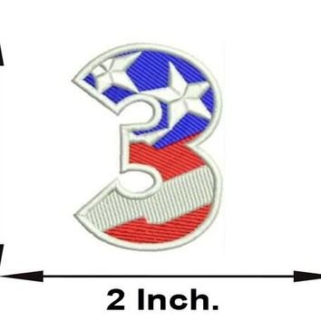 Small Patch 3 Numeric Symbol of US Flag Iron on for Biker Vest