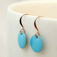 Small turquoise blue enamel earrings. Light blue enamel drop earrings. Enamel coin earrings