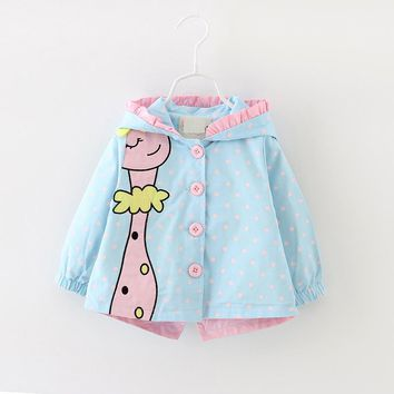 Spring Kids Girls Coats Clothing Baby Girls Fashion Cartoon Dots Hooded Trench Outwea Coats 6-24 months