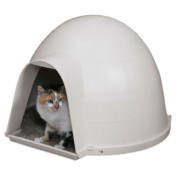 Outdoor Kitty Cat Igloo with Carpeted Floor