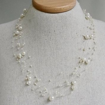 Vtg 1990s Floating Pearls Necklace Faux Multi-strand Silver Tone