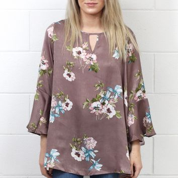Floral Sheen Keyhole Blouse {Plum Mix} EXTENDED SIZES