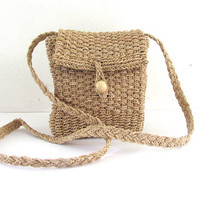 Vintage raffia across body purse / natural purse